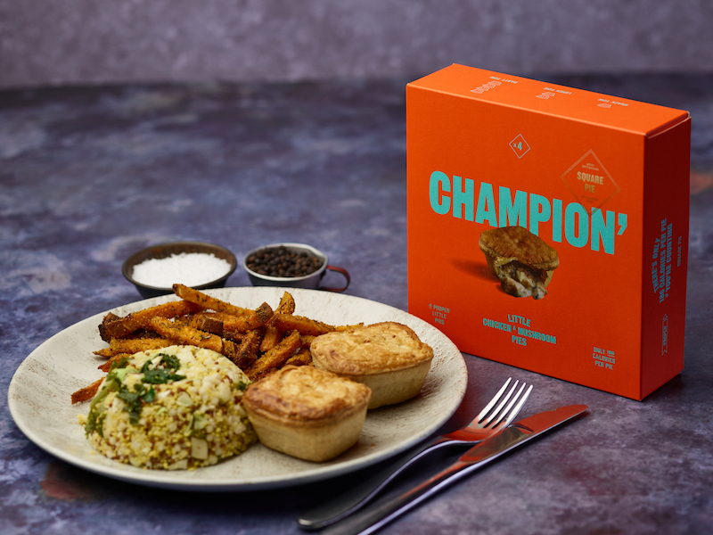 Chicken & Mushroom Proper Little Pies with sweet potato fries and veggie rice